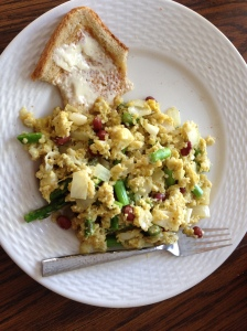 Breakfast--eggs with onion, asparagus, and red beans